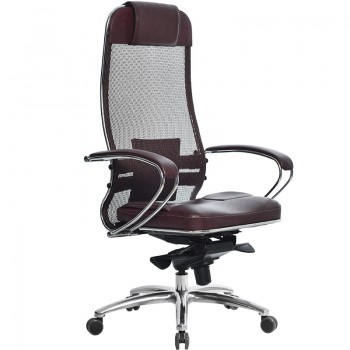 Кресло Samurai SL-1.03 сетка/кожа, темно-бордовый - оптово-розничная продажа