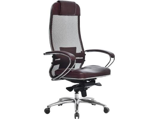 Кресло Samurai SL-1.03 сетка/кожа, темно-бордовый