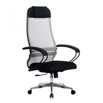 Кресло Samurai Ultra SU-1-BP 11 светло-серый, сетка/ткань, крестовина хром Ch-2 - оптово-розничная продажа