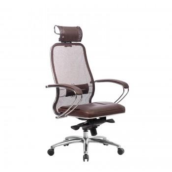 Кресло Samurai SL-2.04 сетка/кожа, темно-коричневый - оптово-розничная продажа