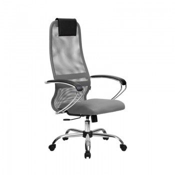 Кресло Samurai Slim S-BK 8 светло-серый, сетка/ткань, крестовина хром Ch   - оптово-розничная продажа