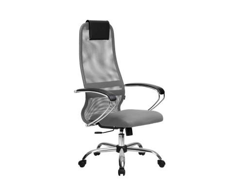 Кресло Samurai Slim S-BK 8 светло-серый, сетка/ткань, крестовина хром Ch
