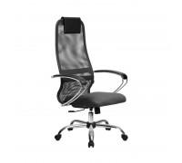 Кресло Samurai Slim S-BK 8 темно-серый, сетка/ткань, крестовина хром Ch