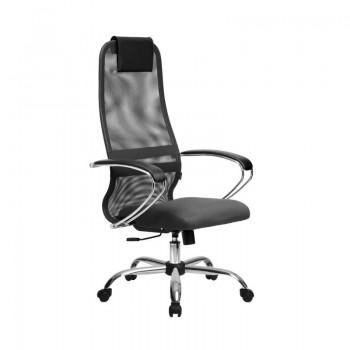 Кресло Samurai Slim S-BK 8 темно-серый, сетка/ткань, крестовина хром Ch   - оптово-розничная продажа