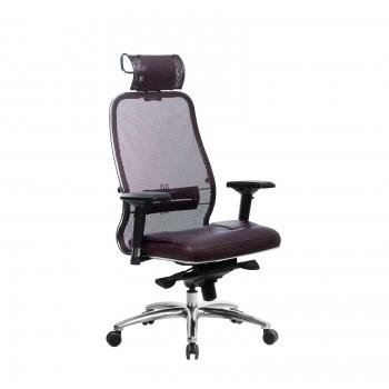 Кресло Samurai SL-3.04 сетка/кожа, темно-бордовый - оптово-розничная продажа