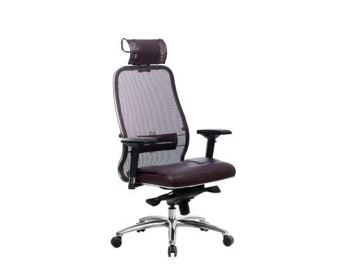 Кресло Samurai SL-3.04 сетка/кожа, темно-бордовый