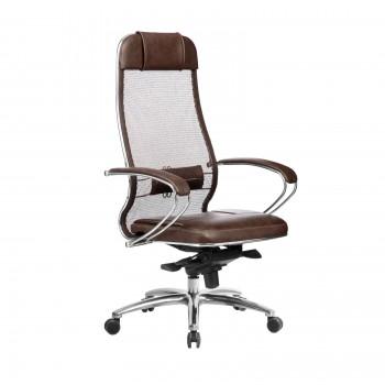 Кресло Samurai SL-1.04 сетка/кожа, темно-коричневый - оптово-розничная продажа