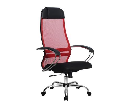 Кресло Samurai Ultra SU-1-BK 18 красный, сетка/ткань, крестовина хром Ch