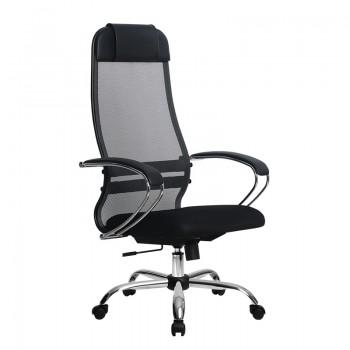 Кресло Samurai Ultra SU-1-BK 18 темно-серый, сетка/ткань, крестовина хром Ch  - оптово-розничная продажа