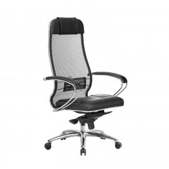 Кресло Samurai SL-1.04 сетка/кожа, черный - оптово-розничная продажа