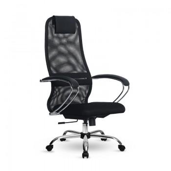 Кресло Samurai Slim S-BK 8 черный, сетка/ткань, крестовина хром Ch  - оптово-розничная продажа