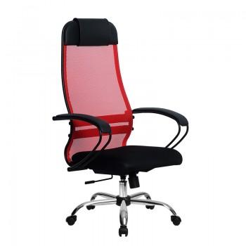 Кресло Samurai Ultra SU-1-BP 11 красный, сетка/ткань, крестовина хром Ch  - оптово-розничная продажа