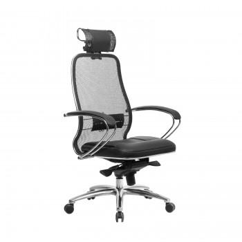 Кресло Samurai SL-2.04 сетка/кожа, черный - оптово-розничная продажа