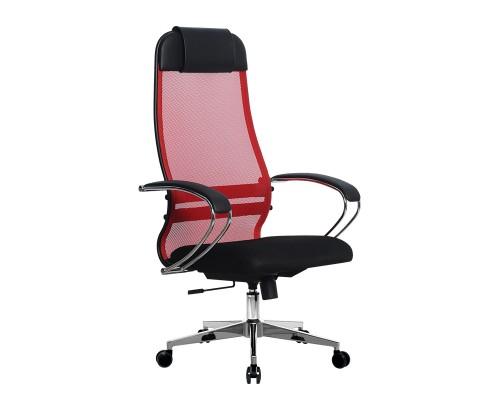 Кресло Samurai Ultra SU-1-BK 18 красный, сетка/ткань, крестовина хром Ch-2