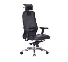Кресло Samurai SL-3.04 сетка/кожа, черный ПЛЮС