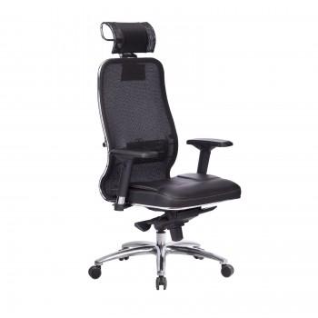 Кресло Samurai SL-3.04 сетка/кожа, черный ПЛЮС - оптово-розничная продажа