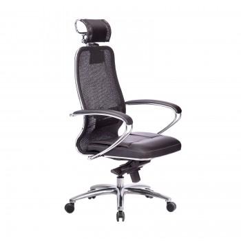 Кресло Samurai SL-2.04 сетка/кожа, черный ПЛЮС - оптово-розничная продажа