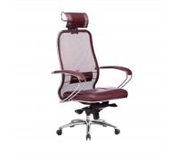 Кресло Samurai SL-2.04 сетка/кожа, темно-бордовый