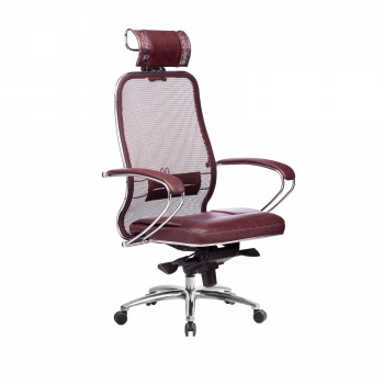 Кресло Samurai SL-2.04 сетка/кожа, темно-бордовый - оптово-розничная продажа