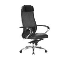 Кресло Samurai SL-1.04 сетка/кожа, черный ПЛЮС