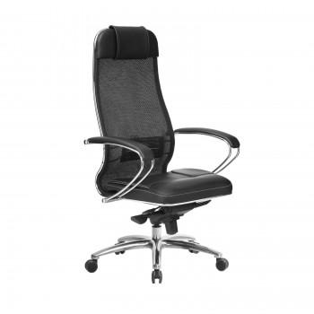 Кресло Samurai SL-1.04 сетка/кожа, черный ПЛЮС - оптово-розничная продажа