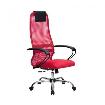Кресло Samurai Slim S-BP 8 красный, сетка/ткань, крестовина хром Ch   - оптово-розничная продажа
