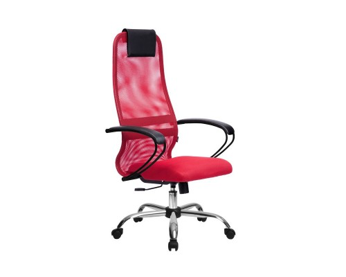 Кресло Samurai Slim S-BP 8 красный, сетка/ткань, крестовина хром Ch