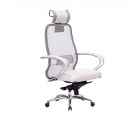 Кресло Samurai SL-2.04 сетка/кожа, белый лебедь