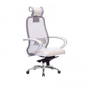 Кресло Samurai SL-2.04 сетка/кожа, белый лебедь - оптово-розничная продажа