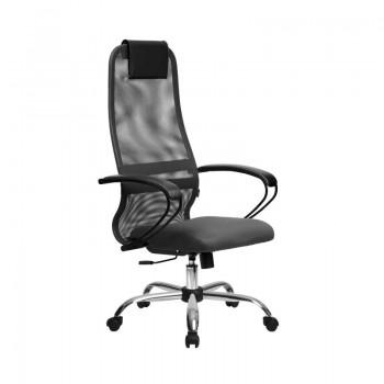 Кресло Samurai Slim S-BP 8 темно-серый, сетка/ткань, крестовина хром Ch   - оптово-розничная продажа