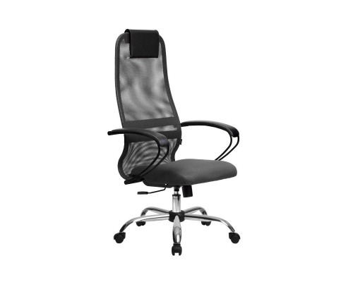 Кресло Samurai Slim S-BP 8 темно-серый, сетка/ткань, крестовина хром Ch
