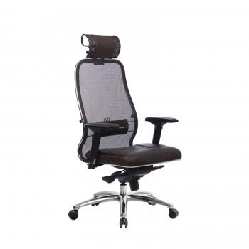 Кресло Samurai SL-3.04 сетка/кожа, темно-коричневый - оптово-розничная продажа