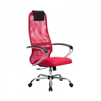 Кресло Samurai Slim S-BK 8 красный, сетка/ткань, крестовина хром Ch   - оптово-розничная продажа