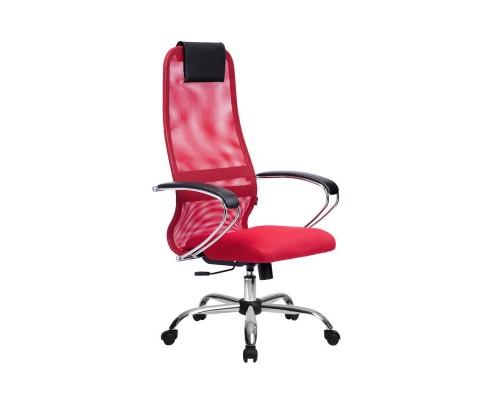 Кресло Samurai Slim S-BK 8 красный, сетка/ткань, крестовина хром Ch