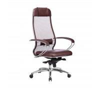 Кресло Samurai SL-1.04 сетка/кожа, темно-бордовый