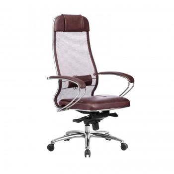 Кресло Samurai SL-1.04 сетка/кожа, темно-бордовый - оптово-розничная продажа