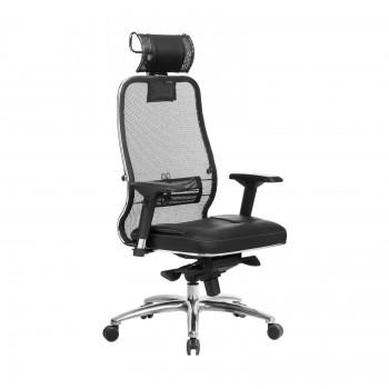 Кресло Samurai SL-3.04 сетка/кожа, черный - оптово-розничная продажа