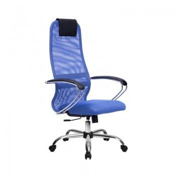 Кресло Samurai Slim S-BK 8 синий, сетка/ткань, крестовина хром Ch   - оптово-розничная продажа