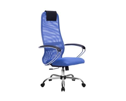 Кресло Samurai Slim S-BK 8 синий, сетка/ткань, крестовина хром Ch