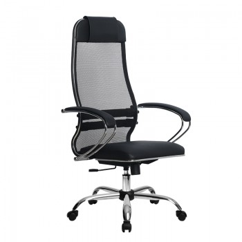 Кресло Samurai Ultra SU-1-BK 16 CH черный, кожа NewLeather/сетка - оптово-розничная продажа