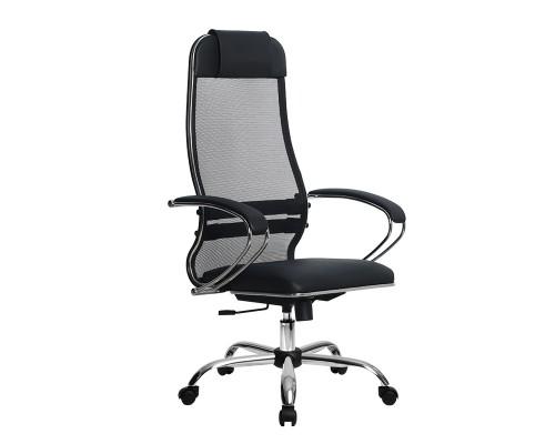 Кресло Samurai Ultra SU-1-BK 16 CH черный, кожа NewLeather/сетка