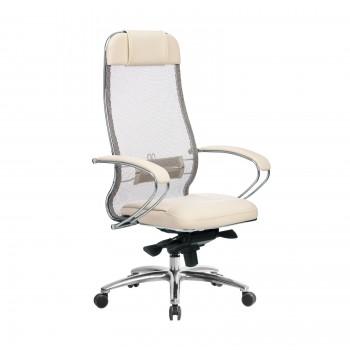 Кресло Samurai SL-1.04 сетка/кожа, бежевый - оптово-розничная продажа