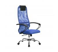 Кресло Samurai Slim S-BP 8 синий, сетка/ткань, крестовина хром Ch
