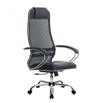 Кресло Samurai Ultra SU-1-BK 5 CH черный, кожа NewLeather/сетка - оптово-розничная продажа