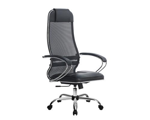 Кресло Samurai Ultra SU-1-BK 5 CH черный, кожа NewLeather/сетка