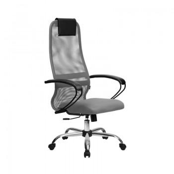Кресло Samurai Slim S-BP 8 светло-серый, сетка/ткань, крестовина хром Ch   - оптово-розничная продажа